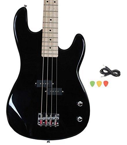 Davison Guitars 4 String Black Full Size Electric Bass Guitar With Cord And Picks By Davison (BASS235 BK GCP) (Renewed)
