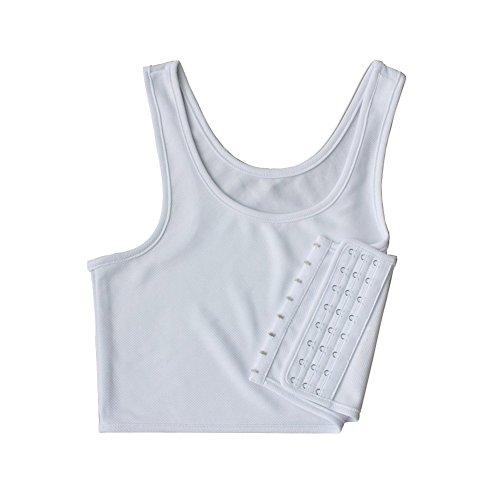 Sunshop Women Hook Vest Top Lesbian Chest Tomboy Slim Fit Straps Tank Sports Bra Chest Binders (Small, White)