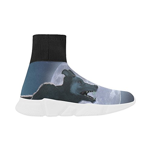 Leinterest Wolf Unicorn Stretch Sock Zapatos Para Mujeres