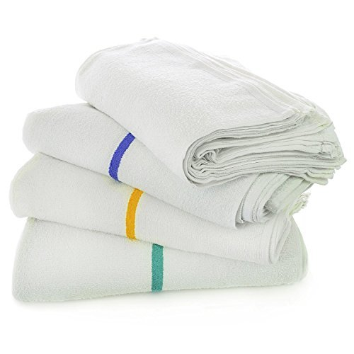 "Kitchen All-purpose Bar Mop Towels, Cotton, Professional Grade for Home Kitchen or Restaurant Use - 24-pack - White (16"" X 19"") (24, Blue)"