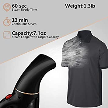 Vedoary Portable Steamer for Clothes, 8 in 1 Handheld Garment Fabric Steamer, 220ml Powerful Steam Iron for Home Travel, Wrinkle Remover-Clean-Sterilize-Sanitize-Refresh-Treat-Defrost Black Gold