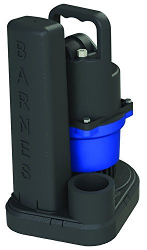 Barnes SU33 Submersible Cast Iron Sump Pump – 1/3-HP, 2,700 GPH, 9' Cord, Magnetic Float Switch, for Residential Use