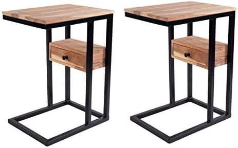 DECORINY Sofa Side Acacia Wood C End Table