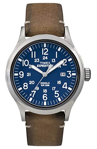 - Timex TW4B01800 Mens Expedition Analog Elevated Tan Leather Strap Watch