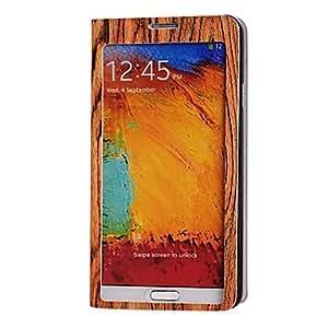 Conseguir Pantalla completa ventana de caso del patrón de madera con soporte para Samsung Galaxy Note N9000 3
