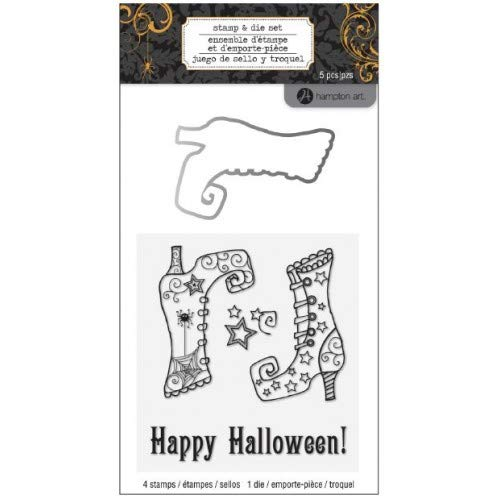 Hampton Art - Happy Halloween Stamp & Die Set with Witch Boots - Model # SC0699 - -