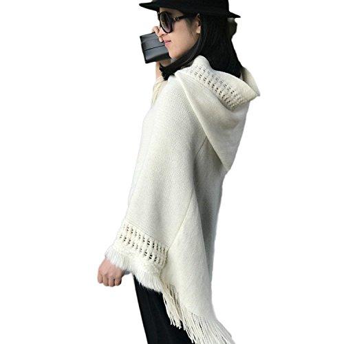 Pullover Loisir Vetement Basic Tricot Houppe Capuche Tricot Femmes fashion HX Chale Manche Poncho Automne Uni Colour avec Printemps Pull 9 Cape Pullover O7aqH