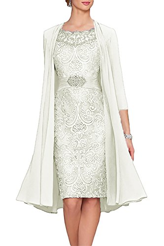APXPF Women's Tea Length Mother of The Bride Dresses Two Pieces with Jacket Ivory US26
