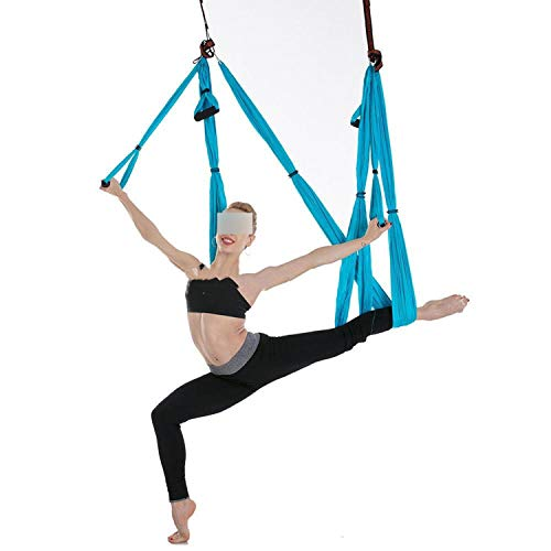 (COEAGLE Hammocks Strong Swing Hammock Aerial Trapeze Inversion Anti-Gravity Straps High Strength Fabric Decompression,Sky Blue-Full Set)