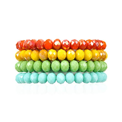 RIAH FASHION Multilayer Beaded Stretch Stacking Bracelets -