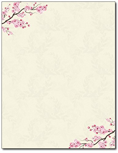 Laser Sheet Stationery - Cherry Blossoms Stationery Paper - 80 Sheets