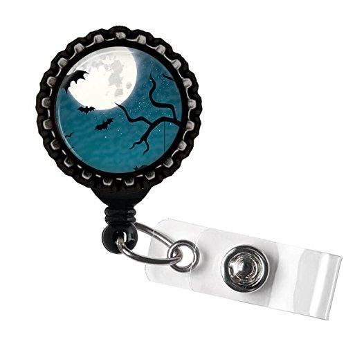Halloween Bats, Moon, and Tree Retractable Badge Reel ID Tag Holder by Geek Badges