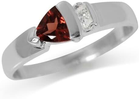 Natural Garnet & White Topaz Sterling Silver Ring