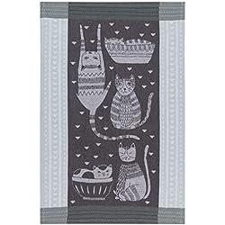 Now Designs 2180067aa - Toalla de Cocina de algodón Jacquard, diseño de Gato, Color Morado