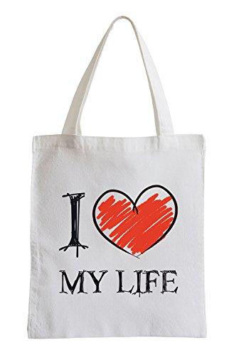 Amo la mia vita Fun sacchetto di iuta