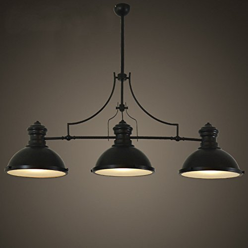 BAYCHEER HL416343 Industrial Retro Vintage style Three-Light Pool Table Light Linear Island Chandelier Pendant Light Lampe with 35.43 inch Length Chain in Black Finish use E26/27 Bulb
