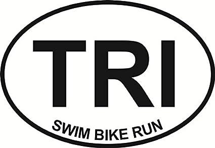 "TRI Swim Bike Run Triathlon  Oval car window bumper sticker decal 5/"" x 3/"""