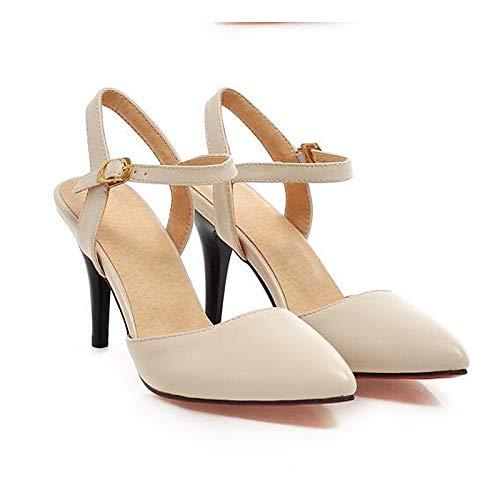 QOIQNLSN Zapatos De Mujer PU (Poliuretano) Confort Primavera Tacones Stiletto Talón Negro/Rosa / Almendra White