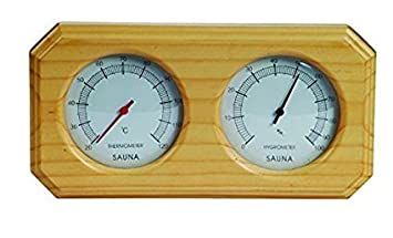 Sauna Wooden Thermometer And Hygrometer Double Sauna Wooden Hygrothermograph Sauna Room Accessory Larger Size (Style A) Paramount City