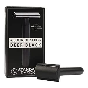 Standard Razors Aluminum Double Edge Safety Razor - Deep Black | Premium Razors for Men | Three Piece Double Edge Razor | Modern Design, Classic Shave