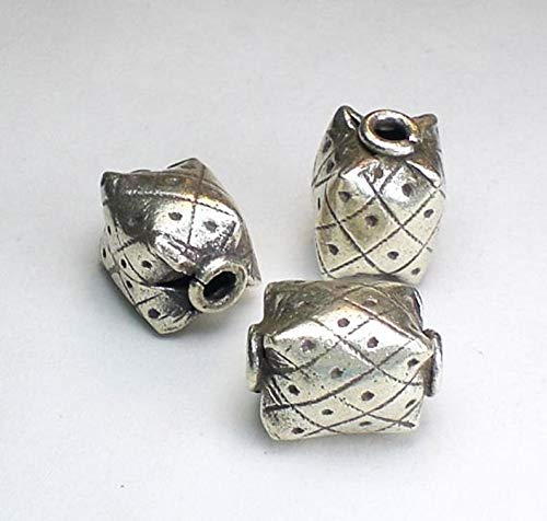 (Design Ideas - Rectangular Hill Tribe Fine Silver Focal Bead 15mm Large Hole Bead HT-)
