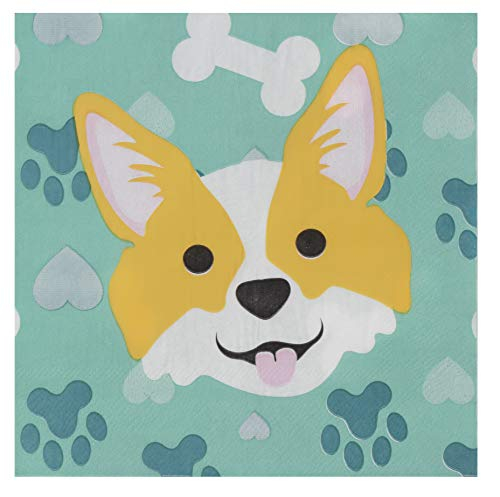 Cocktail Napkins - 150-Pack Luncheon Napkins, Disposable Paper Napkins Kids Birthday Dog Themed Party Supplies, 2-Ply, Corgi Design, Unfolded 13 x 13 Inches, Folded 6.5 x 6.5 Inches