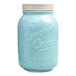 Amazoncom Blue and White Mason Jar Ceramic Cookie Jar by World