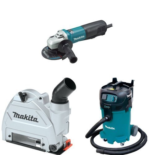Makita 9565PC 5-Inch SJS High-Power Paddle Switch Angle Grinder, 196846-1 Dust Extraction Tuck Point Guard, VC4710 12 Gallon Xtract Vac Wet/Dry Dust Extractor/Vacuum