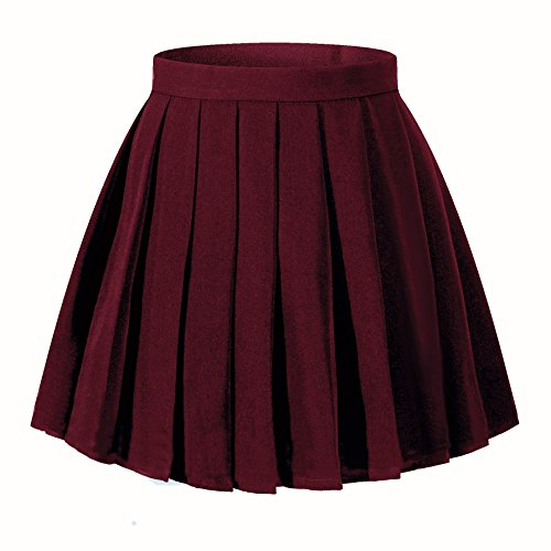 Girl`s Japan Costumes short Pleated party Cos Skirts(XS,Wine Red)