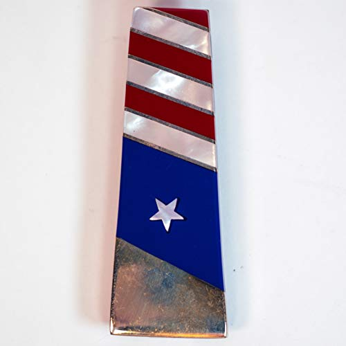 - SANTA FE STONEWORKS PATRIOTIC MONEY CLIP WITH MOTHER OF PEARL, LAPIS, CORAL WITH STAINLESS STEEL CLIP, MEN'S WALLET & MONEY CLIP