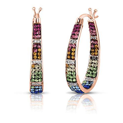 (Womens Crystal Inside Out Oval Shape Hoop Earrings, Fashion Hoop Earrings For Women (ROSE GOLD)