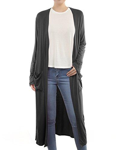 BIADANI Women Classic Long Sleeve Front Pockets Split Hem Maxi Cardigan Black Medium