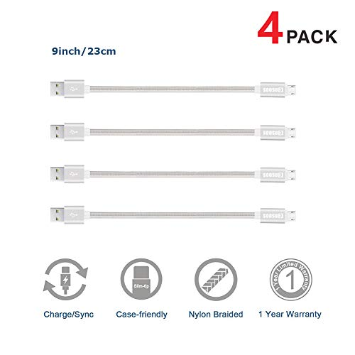 Short Micro USB Cable, COSOOS 4 Pack 9 Inch Nylon Braided Charging and Syncing Short Cords for Samsung, Kindle, Charging Station, Android Smartphones, Power Bank, PS4 (Silver,White) (Docking Station Nintendo Ds)