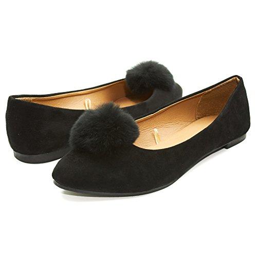 11 Womens Pom Pom - Sara Z Womens Microsuede Velvet Pointed Ballet Flat Shoes with Pom Pom Black Size 11