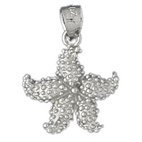 14k White Gold Starfish Pendant (14 x 21 mm) by Eaton Creek Collection