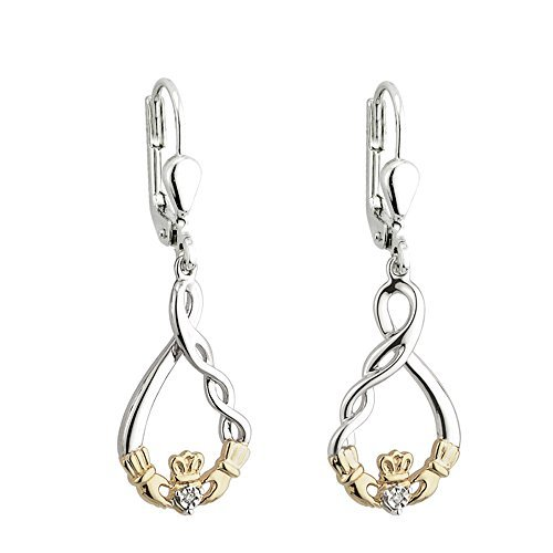 Claddagh Diamond Earrings Sterling Silver & 10K Gold by Failte