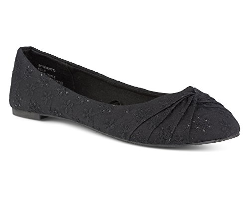 Twisted Women's Ruby Floral Canvas Knotted Toe Ballet Flat - Black, Size 9