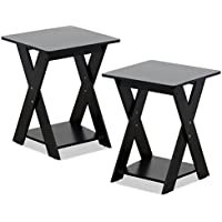 FURINNO 2-16050EX Modern Simplistic End Table Set, Espresso