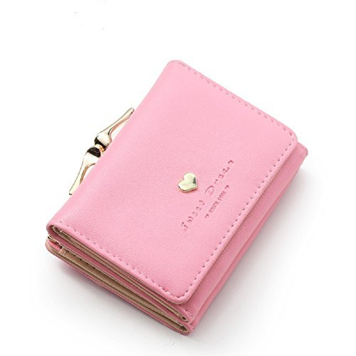 (Sweet Dream Women Cute Small Pink Wallet Card Holder Short Trifold Wallet Lady Coin Purse )