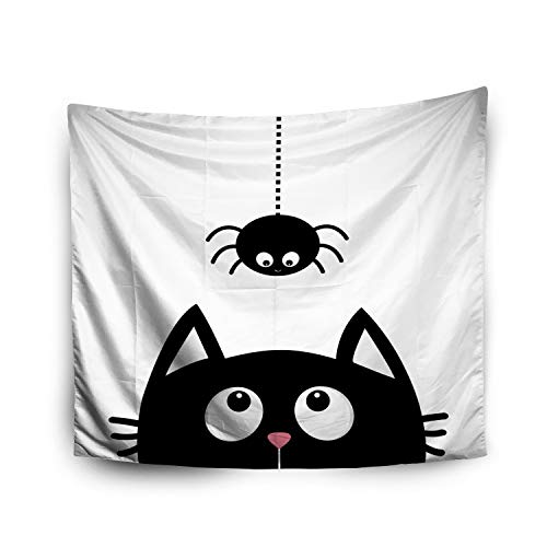 Jacrane Tapestry Wall Hanging with 60x80 Inches Halloween Black cat face Head Silhouette Looking up to Hanging Dash line Web Art Tapestries for Bedroom Living Room Home Decor Wall Hanging -