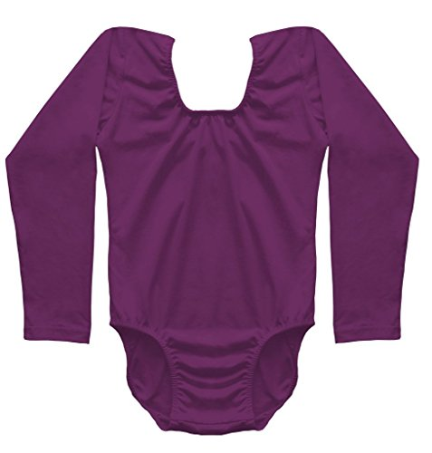[Dancina Leotard Classic Long Sleeve Girls Costume Under Shirt Bodysuit for School Events 5 Purple] (Aerobics Costume Designs)