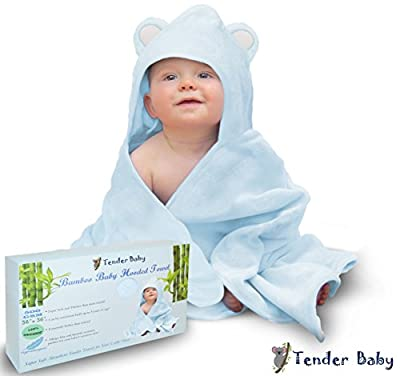 """Baby Hooded Towel - Baby Bath Towel for Infant, Toddler, Newborn, and Kids   Extra Soft Bamboo Hooded Towel, 100% Organic, 500 GSM, 36x36"""" Oversized for Boys or Girls   Luxury Baby Shower Gift (Blue)"""