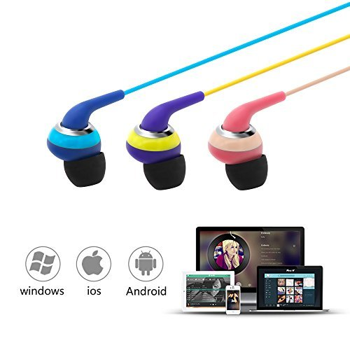 Wired Earbuds With Microphone, 3.5mm Bass Stereo In-ear Headphones for IOS/Android Device (Smart-phones & Laptops), Available When Exercise, Pack of 2PCS, Color Random by KATEVO (Image #4)