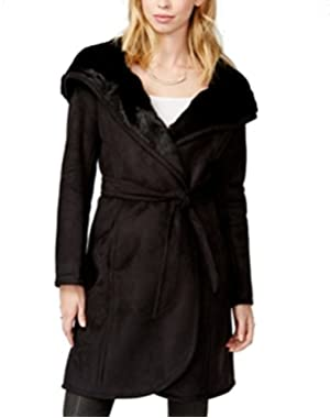 Guess Womens Large Belted Hooded Faux-Fur Coat Black L