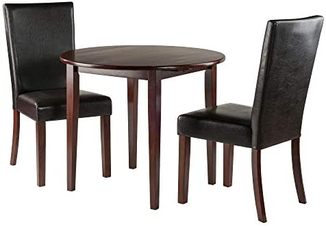 Winsome Clayton 3-PC Set Drop Leaf Table with 2 Chairs Dining, Walnut