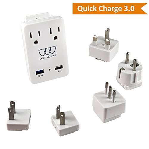 2000W International Travel Adapter Kit - AC Outlets + Quick Charge 3.0 and 2.4A USB Port with Worldwide Universal Wall Plugs for UK US AU Europe Italy Asia - Works for Hair Dryer & Hair Straightener by Gold Armour