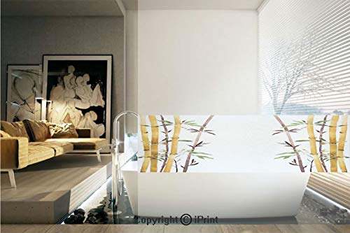 (Decorative Privacy Window Film/Bamboo Grove Calm Your Mind Slow Down Zen Relax Hand Drawn Style Artwork/No-Glue Self Static Cling for Home Bedroom Bathroom Kitchen Office Decor Cream Brown)