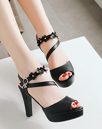 Aisun Femme Sandales Noir Fille Peep Bloc Haut Original Toe Boucle Fleurs Talon Avec rrnSdq1xwz