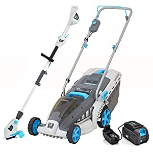 swift 40V 37cm Cordless Lawn Mower and 40V Cordless Grass Trimmer/Edger Set, Battery Strimmer & Lawnmower Twin Pack with…