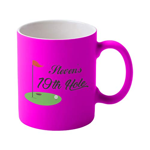 Hole 19th Ceramic - Personalized Custom Text Golf 19th Hole Sports Ceramic Coffee Tea Neon Mug - Neon Pink